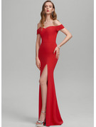 Sheath/Column Off-the-Shoulder Floor-Length Stretch Crepe Prom Dresses With Split Front