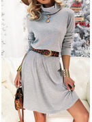 Solid A-line High Neck Long Sleeves Midi Casual Skater Dresses