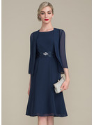 Scoop Neck Knee-Length Chiffon Mother of the Bride Dress With Ruffle Lace Beading Sequins