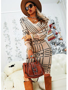 Print Bodycon V-Neck Long Sleeves Midi Elegant Pencil Dresses