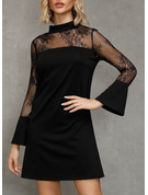 Nylon With Lace/Stitching/Solid Above Knee Dress