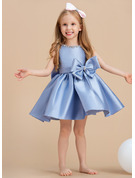 Ball-Gown/Princess Knee-length Flower Girl Dress - Satin Sleeveless Scoop Neck With Bow(s)/Rhinestone