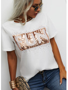 Regular Cotton Blends Round Neck Figure Print Sequins Fitted Blouses