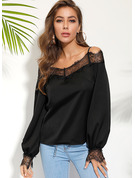 Long Sleeves Polyester Off the Shoulder Blouses