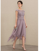 Scoop Neck Ankle-Length Chiffon Lace Mother of the Bride Dress With Cascading Ruffles