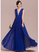 A-Line V-neck Floor-Length Chiffon Bridesmaid Dress With Bow(s) Pleated