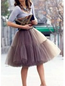Women Tulle Netting/Satin Knee-length 6 Tiers Bustle