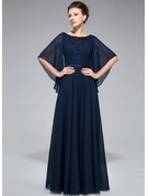 A-Line Scoop Neck Floor-Length Chiffon Mother of the Bride Dress With Ruffle Lace Beading Sequins