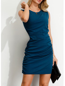 Polyester/Spandex With Crumple/Solid Above Knee Dress