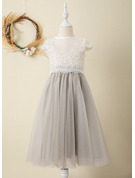 Tea-length Flower Girl Dress - Tulle Lace Short Sleeves Scoop Neck