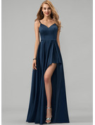 V-neck Floor-Length Satin Prom Dresses With Split Front Cascading Ruffles
