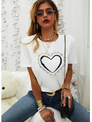 Regular Cotton Blends Round Neck Print Sequins Heart Fitted Blouses