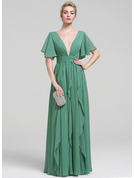 A-Line V-neck Floor-Length Chiffon Evening Dress With Beading Cascading Ruffles