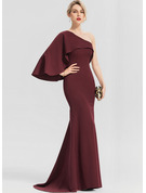 Trumpet/Mermaid One-Shoulder Sweep Train Stretch Crepe Evening Dress With Cascading Ruffles