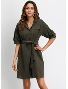 Cotton With Button/Crumple/Solid Above Knee Dress