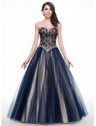 Ball-Gown/Princess Sweetheart Floor-Length Tulle Lace Prom Dresses With Beading Sequins