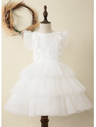 Knee-length Flower Girl Dress - Satin Tulle Lace Sleeveless Scoop Neck With Ruffles Lace Feather