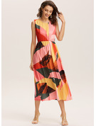 Print Round Neck Sleeveless Maxi Dresses