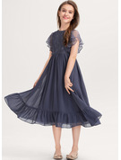 A-Line Scoop Neck Knee-Length Chiffon Lace Junior Bridesmaid Dress With Cascading Ruffles