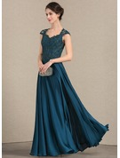 Sweetheart Floor-Length Lace Satin Chiffon Evening Dress
