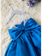 Ball-Gown/Princess Knee-length Flower Girl Dress - Satin/Lace Sleeveless Scoop Neck With Beading/Bow(s)