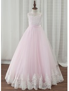 A-Line/Princess Floor-length Flower Girl Dress - Tulle/Lace Sleeveless Scoop Neck With Bow(s)