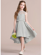 A-Line Scoop Neck Asymmetrical Satin Junior Bridesmaid Dress