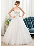 Ball-Gown Sweetheart Floor-Length Organza Lace Wedding Dress With Beading Sequins Bow(s)