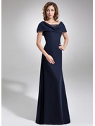 A-Line Cowl Neck Floor-Length Chiffon Mother of the Bride Dress With Ruffle Beading Sequins