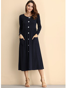 Cotton/Linen Knee Length Dress