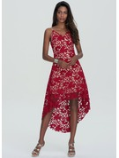 A-Line V-neck Asymmetrical Lace Homecoming Dress
