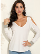 Long Sleeves Polyester Cold Shoulder T-shirt Blouses