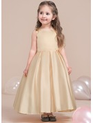 Ankle-length Flower Girl Dress - Satin Lace Sleeveless Scoop Neck (Wrap included)
