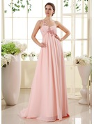 Empire One-Shoulder Sweep Train Chiffon Maternity Bridesmaid Dress With Ruffle Lace Beading