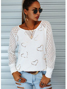 Regular Cotton Blends Round Neck Lace Print Heart Fitted Blouses