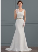 Trumpet/Mermaid Cowl Neck Sweep Train Chiffon Wedding Dress With Beading