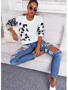 Round Neck Long Sleeves Regular Leopard Casual Pullovers