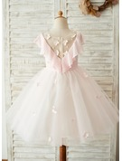 Knee-length Flower Girl Dress - Chiffon Tulle Lace Sleeveless Scoop Neck With Appliques