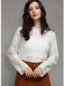 Long Sleeves Polyester Stand collar Blouses