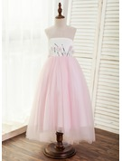 A-Line/Princess Asymmetrical Flower Girl Dress - Satin/Tulle Sleeveless Scoop Neck With Beading