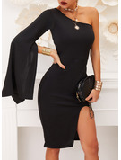 Solid Sheath One Shoulder Long Sleeves Split Sleeve Flare Sleeve Midi Little Black Party Dresses
