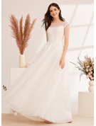 Ball-Gown/Princess Illusion Floor-Length Wedding Dress With Lace