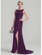 A-Line/Princess Scoop Neck Sweep Train Chiffon Lace Evening Dress With Ruffle Beading Sequins Split Front