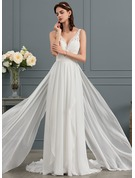 A-Line/Princess V-neck Sweep Train Chiffon Wedding Dress With Cascading Ruffles