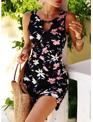 Floral Print Shift Round Neck Sleeveless Midi Casual Vacation Tank Dresses
