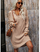V-Neck Long Sleeves Color Block Casual Long Sweater Dresses