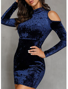 Velvet With Solid Above Knee Dress