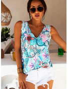 Regular Polyester V-Neck Lace Print Fitted Blouses