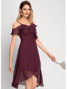 A-Line Off-the-Shoulder Asymmetrical Chiffon Cocktail Dress