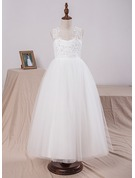 A-Line/Princess Floor-length Flower Girl Dress - Satin/Tulle/Lace Sleeveless Scoop Neck With Appliques/Flower(s)